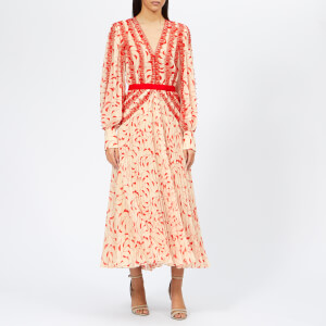 Self-Portrait Women's Crescent Printed Chiffon Midi Dress - Cream/Red