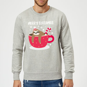 Merry Slothmas Christmas Sweatshirt - Grey