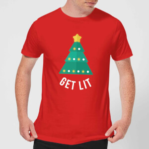Get Lit Men's Christmas T-Shirt - Red