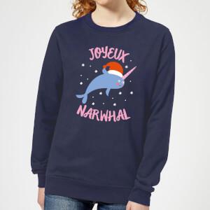 Joyeux Narwhal Women's Christmas Sweatshirt - Navy