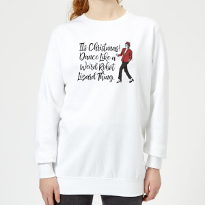 Its Christmas, Dance Like A Weird Robot Women's Christmas Sweatshirt - White