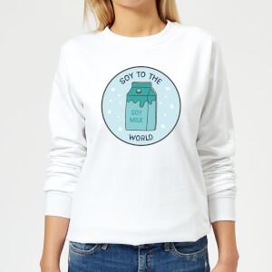 Soy To The World Women's Christmas Sweatshirt - White