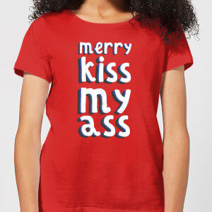 Merry KissMyAss Women's Christmas T-Shirt - Red