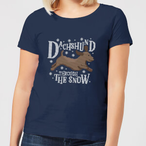 Dachshund Through The Snow Women's Christmas T-Shirt - Navy