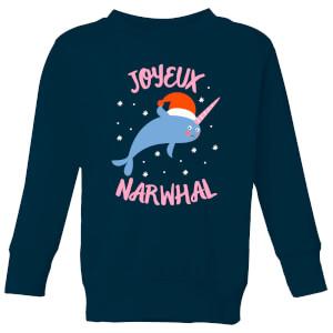 Joyeux Narwhal Kids' Christmas Sweatshirt - Navy