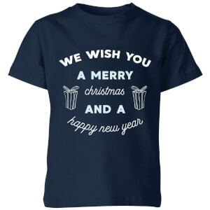 We Wish You A Merry Christmas and A Happy New Year Kids' Christmas T-Shirt - Navy