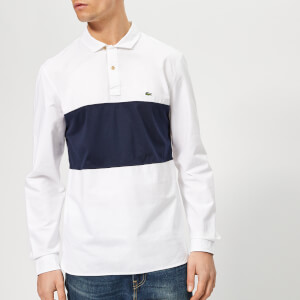 Lacoste Men's Oxford Stripe Rugby Shirt - White/Navy Band