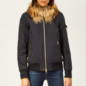 Woolrich Women's Short Bomber Jacket with Fur Collar - Clay