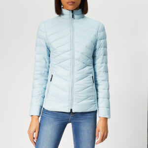 Barbour Women's Longshore Quilt Coat - Powder Blue/Ice White