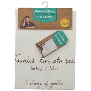 Jamie Oliver Tomato Sauce Recipe Tea Towel - White