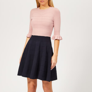 Ted Baker Women's Dyana Frill Knitted Dress - Dusky-Pink
