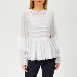 Ted Baker Women's Roobee Pintuck Detailing Long Sleeve Top - White