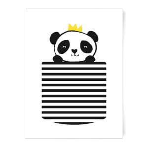 Stripey Panda Pocket Art Print