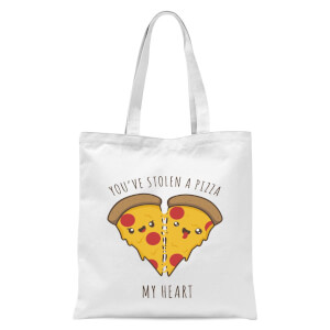 A Pizza My Heart Tote Bag - White