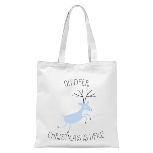 Oh Deer Christmas Is Here Tote Bag - White