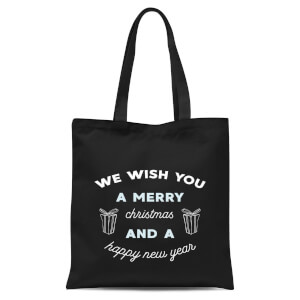 We Wish You A Merry Christmas and A Happy New Year Tote Bag - Black