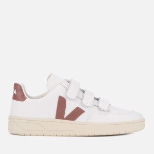 Veja Women's V-12 Velcro Leather Trainers - Extra White/Dried Petal