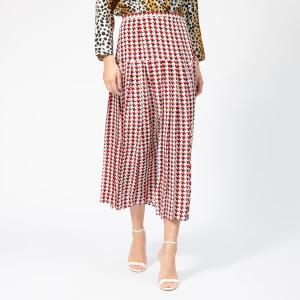 RIXO Women's Tina Stripe Houndstooth Skirt - Red