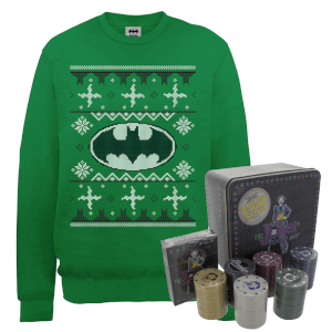 DC Batman Logo Christmas Jumper and Joker Poker Bundle - Kelly Green