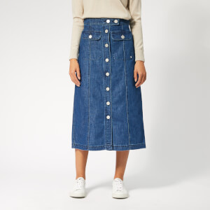 Maison Kitsuné Women's Denim Bianca Midi Skirt - Bleach