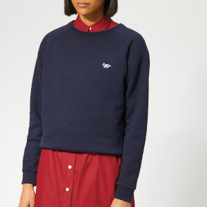 Maison Kitsuné Women's Tricolor Fox Patch Sweatshirt - Navy