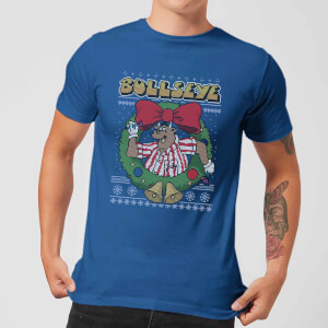 Bullseye Bullseye Wreath Men's Christmas T-Shirt - Royal Blue
