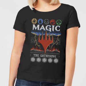 Magic The Gathering Colours Of Magic Knit Women's Christmas T-Shirt - Black