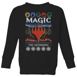 Magic The Gathering Colours Of Magic Knit Kids' Christmas Sweatshirt - Black