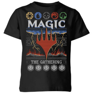 Magic The Gathering Colours Of Magic Knit Kids' Christmas T-Shirt - Black