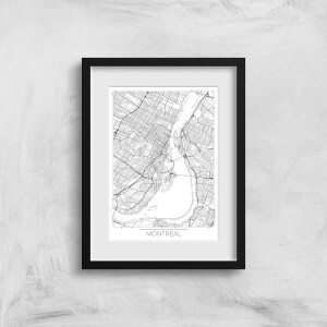 City Art Black and White Outlined Montreal Map Art Print