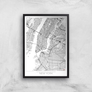 City Art Black and White Outlined New York Map Art Print