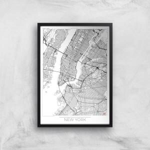 City Art Black and White Outlined New York Map Art Print
