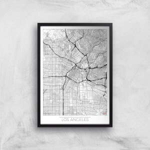 City Art Black and White Outlined Los Angeles Map Art Print