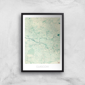 City Art Coloured Glasgow Map Art Print