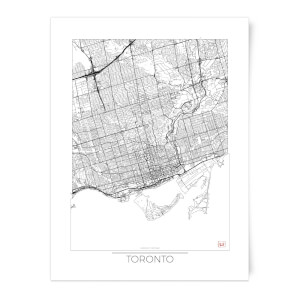 City Art Black and White Outlined Toronto Map Art Print