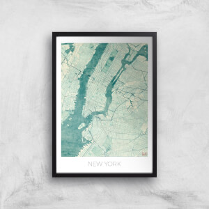 City Art Coloured New York Map Art Print