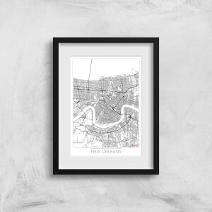 City Art Black and White Outlined New orleans Map Art Print