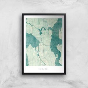 City Art Coloured Seattle Map Art Print
