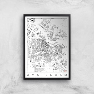 City Art Black and White Amsterdam Map Art Print