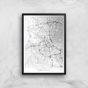City Art Black and White Outlined Nashville Map Art Print