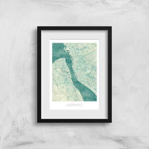 City Art Coloured Liverpool Map Art Print