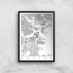 City Art Black and White Boston Map Art Print