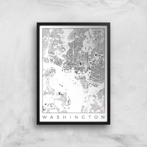 City Art Black and White Washington Map Art Print
