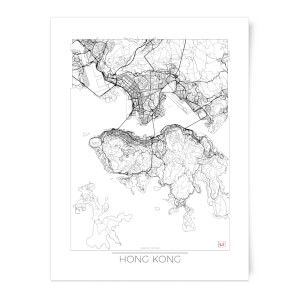 City Art Black and White Outlined Hong Kong Map Art Print