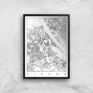City Art Black and White Vienna Map Art Print