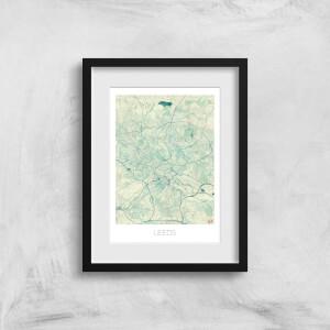 City Art Coloured Leeds Map Art Print