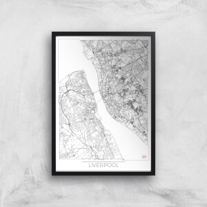 City Art Black and White Outlined Liverpool Map Art Print