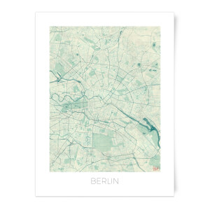 City Art Coloured Berlin Map Art Print