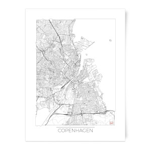 City Art Black and White Outlined Copenhagen Map Art Print