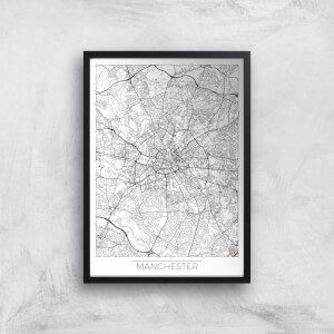 City Art Black and White Outlined Manchester Map Art Print